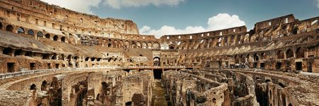 Inside Colosseum panorama view, the world known landmark and the symbol of Rome, Italy.