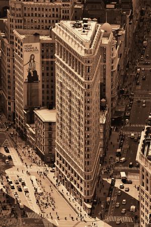 NEW YORK CITY, NY - MAR 30: Flatiron Building rooftop view on March 30, 2014 in New York City. Flatiron building designed by Chicagos Daniel Burnham was designated a New York City landmark in 1966. Editorial
