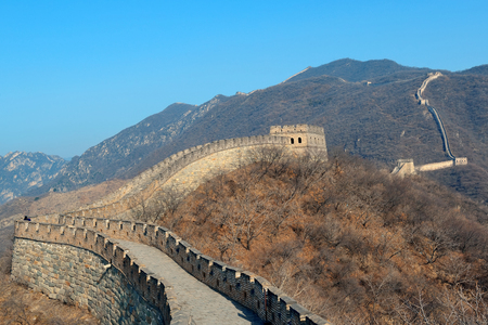 mutianyu: Great Wall with clear blue sky in winter in Beijing, China