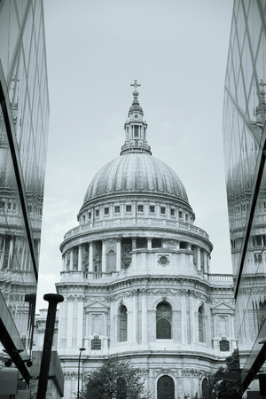st pauls: St Pauls Cathedral and reflections in day in London Editorial