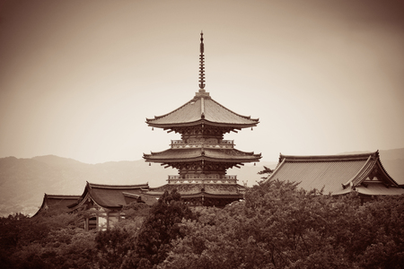 blackwhite: Pagoda tower in Jishu Jinja Shrine in Kyoto, Japan.