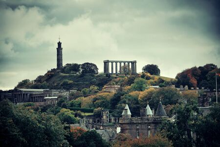 history building: Calton hill with historical ruin in Edinburgh, UK. Stock Photo
