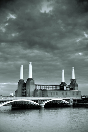 powerstation: Battersea Power Station over Thames river as the famous London landmark. Stock Photo