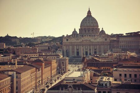 St Peters Basilica at sunset in Vatican City