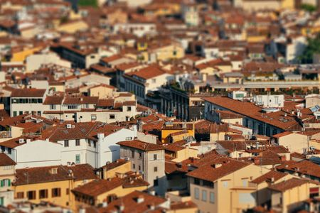 Roofs of old buildings in Florence in Italy tilt-shift effect 版權商用圖片