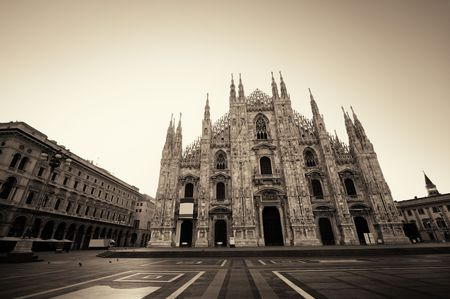 blackwhite: Cathedral Square or Piazza del Duomo in Italian is the center of Milan city in Italy. Stock Photo