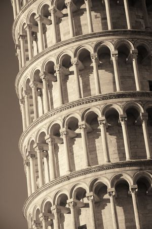tilting: Leaning tower closeup view in Pisa, Italy as the worldwide known landmark. Stock Photo
