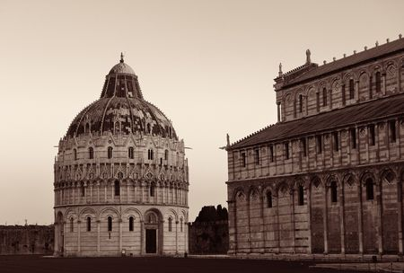 Pisa Piazza dei Miracoli with church dome in Italy