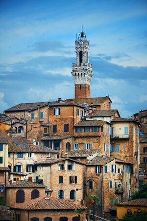 Medieval town Siena skyline view with historic buildings in Italy