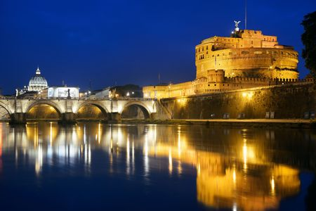castello: Castel Sant Angelo in Italy Rome at night over Tiber River with reflection Stock Photo