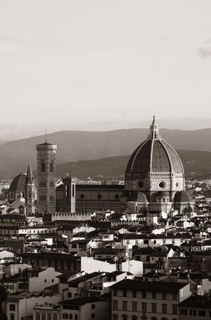 Florence Cathedral with city skyline viewed from Piazzale Michelangelo in black and white