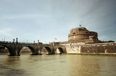 castello: Castel Sant Angelo in Italy Rome and bridge over River Tiber Stock Photo
