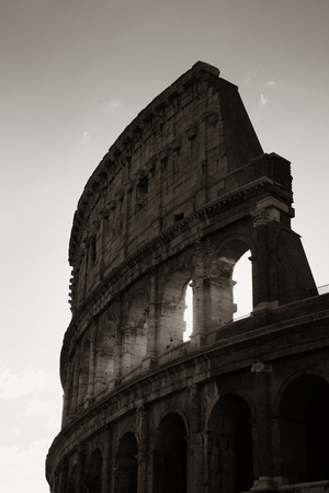 Colosseum is the symbolic architecture of Rome and Italy in monochrome Stock Photo