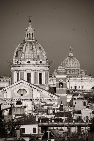 Dome of Rome historic architecture closeup in monochrome, Italy Stok Fotoğraf