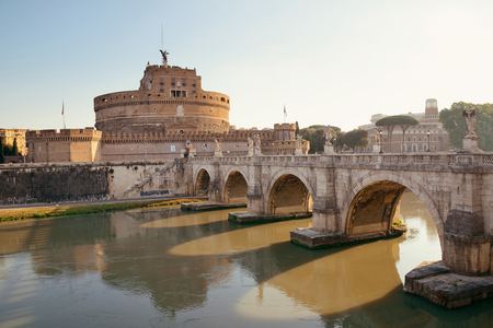 castel: Castel Sant Angelo and bridge over River Tiber in Rome, Italy.