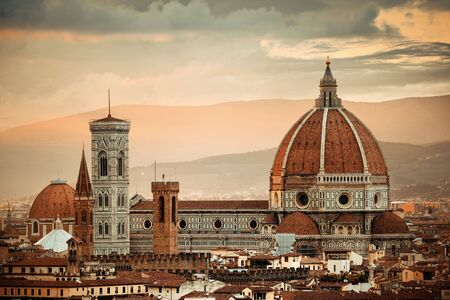 Florence Cathedral with city skyline viewed from Piazzale Michelangelo at sunset