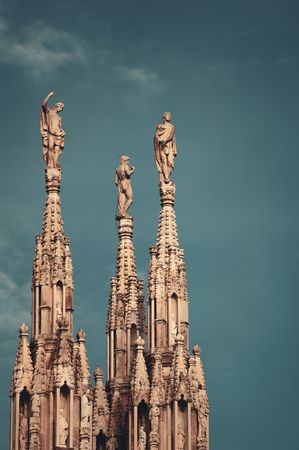 milánó: Statue on top of Cathedral in the center of Milan city in Italy. Stock fotó