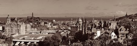 hotel building: Edinburgh city rooftop view with historical architectures. United Kingdom.