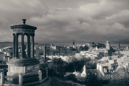 Edinburgh city skyline viewed from Calton Hill. United Kingdom.