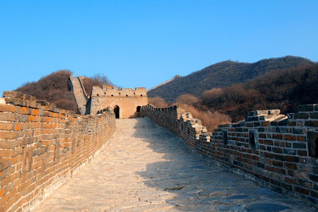 mutianyu: Great Wall in the morning with sunrise and colorful sky in Beijing, China.