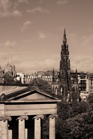 Scott Monument and National Galleries in Edinburgh Stock Photo