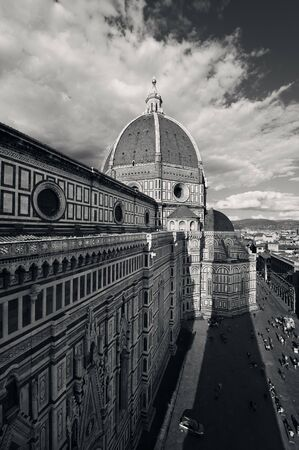 Duomo Santa Maria Del Fiore in Florence Italy viewed from top of bell tower black and white. Stock Photo