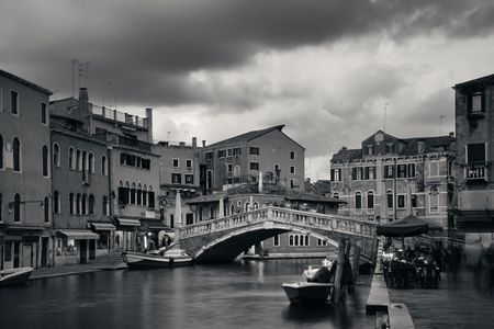 blackwhite: Venice canal view with historical buildings. Italy.
