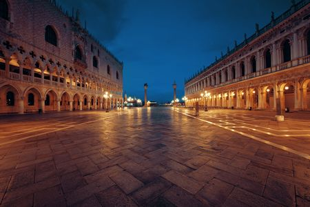 Historical buildings at night at Piazza San Marco in Venice, Italy.