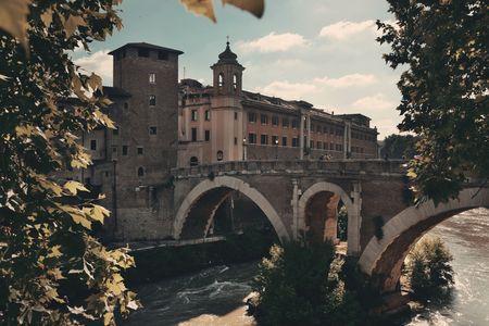 Pons Fabricius (Ponte dei Quattro Capi) is the oldest bridge built in 62 BC in Rome, Italy.
