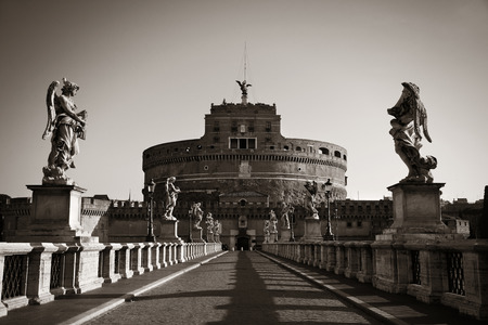castel: Castel Sant Angelo angel statue closeup in Rome, Italy in black and white. Editorial