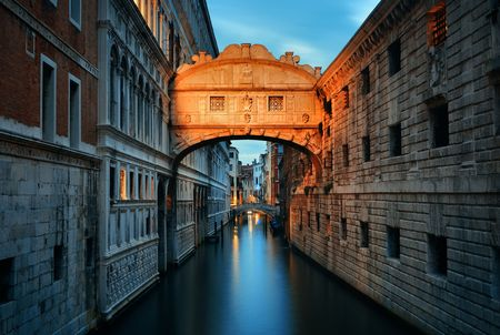 Bridge of Sighs at night as the famous landmark in Venice Italy. Stock Photo