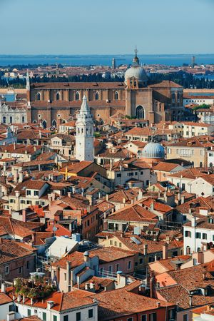 Venice skyline viewed from above at clock tower in St Mark�s square. Italy.