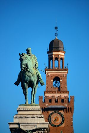 Giuseppe Garibaldi Monument and the bell tower of Sforza Castle in Milan, Italy. Sajtókép