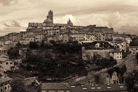 blackwhite: Medieval town with Siena Cathedral and skyline view in Italy