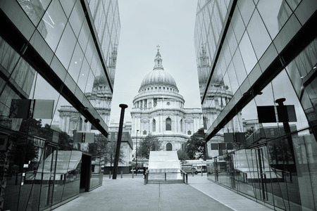 St Pauls Cathedral and reflections in day in London Stock Photo