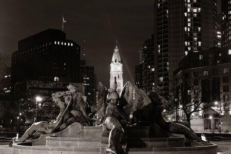 Philadelphia City Hall and statue at night Stock Photo