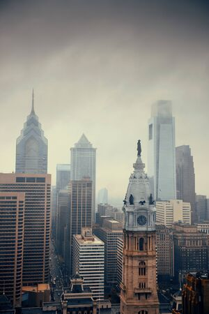 Philadelphia city rooftop view with urban skyscrapers. Stock Photo