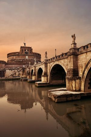 castel: Castel Sant Angelo in Italy Rome and bridge over River Tiber Editorial