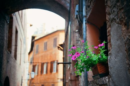Street view with old buildings and archway in Siena, Italy. Stock Photo