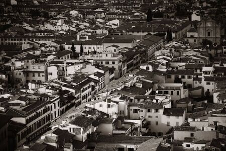 Roofs of old buildings black and white in Florence in Italy Banco de Imagens