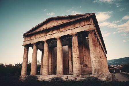 Temple of Hephaestus closeup view in Athens, Greece. Stock Photo