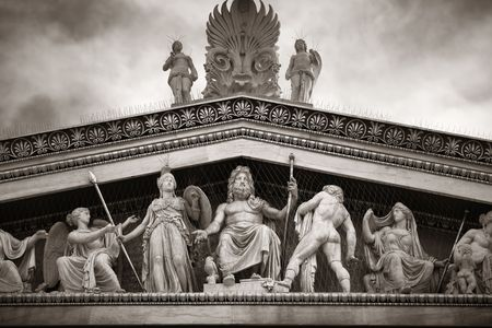 Sculpture on National Academy building in Athens, Greece. Stock Photo