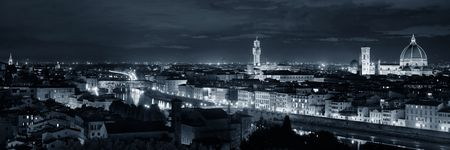 Florence Cathedral with city skyline viewed from Piazzale Michelangelo at night panorama