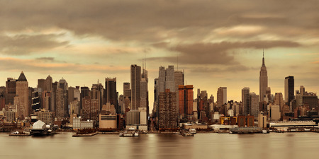 Manhattan midtown skyscrapers and New York City skyline at sunset Stock Photo