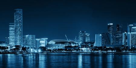 blackwhite: Singapore skyline at night with urban buildings Stock Photo