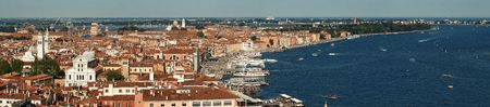Venice skyline panorama viewed from above at clock tower in St Mark's square. Italy. Stock Photo