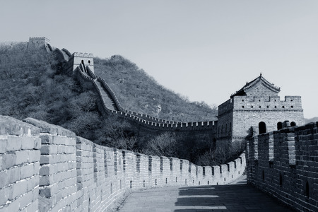 mutianyu: Great Wall in black and white in Beijing, China Stock Photo