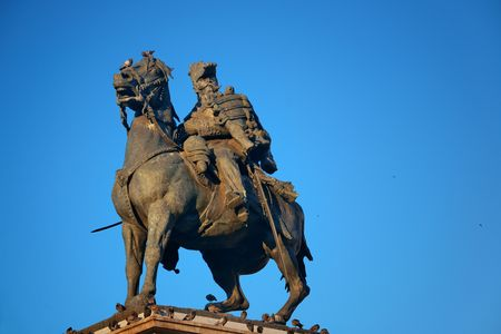 The Monument to King Victor Emmanuel II at Cathedral Square or Piazza del Duomo in Italian. Milan, Italy.