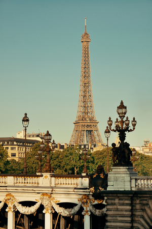 Alexandre III bridge and Eiffel Tower in Paris, France. Stock Photo