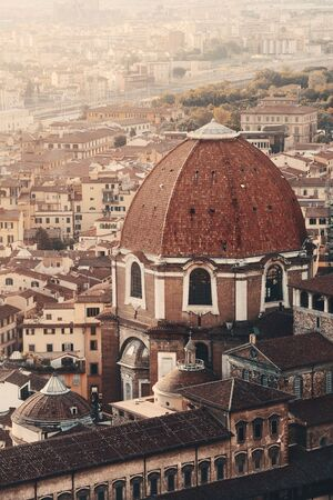 Florence rooftop view with Medici Chapels dome in Italy at sunrise Stock Photo